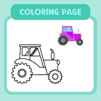 Vetor premium de página para colorir de caminhão para crianças e coleção