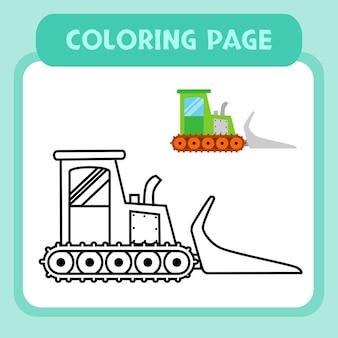 Vetor premium de páginas para colorir buldozer para crianças e coleção