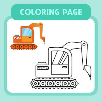 Vetor premium de páginas para colorir de máquinas de construção para crianças e coleção