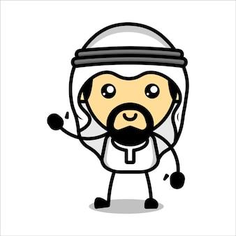 Vetor premium de personagem muçulmano fofo
