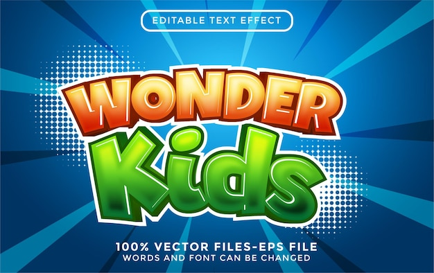 Vetor premium do estilo cartoon com efeito de texto editável wonder kids