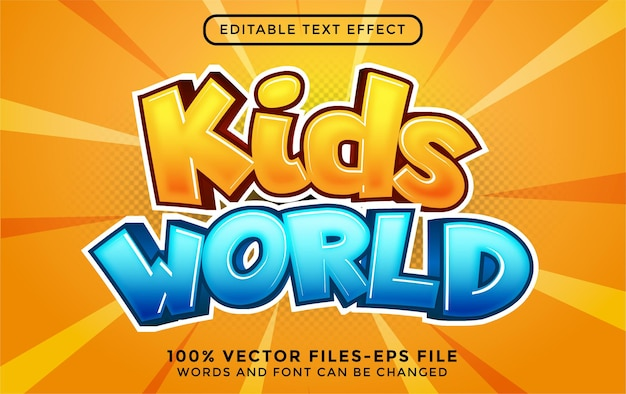 Vetor premium do estilo de desenho animado do mundo infantil editável com efeito de texto