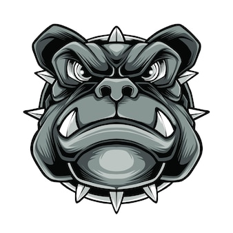 Vetor premium do logotipo do mascote do cachorro branco com raiva