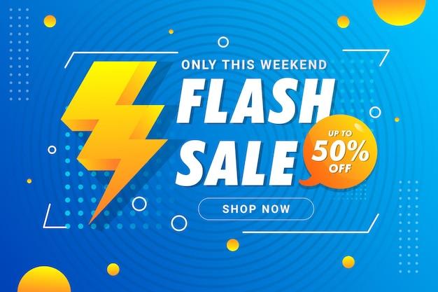 Vetor premium do modelo de banner de venda em flash blue weekend