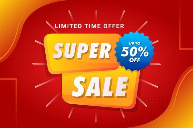 Vetor premium do modelo de banner super venda limitado vermelho