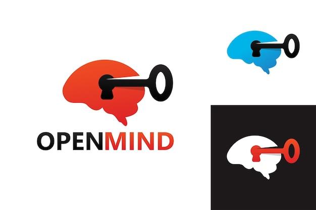 Vetor premium do modelo de logotipo de mente aberta chave