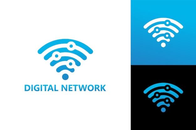 Vetor premium do modelo de logotipo de rede digital