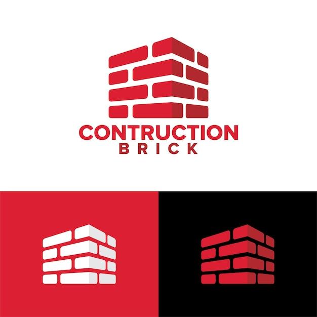 Vetor premium do modelo de logotipo de tijolo de construção