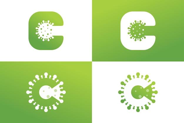 Vetor premium do modelo de logotipo de vírus letra c