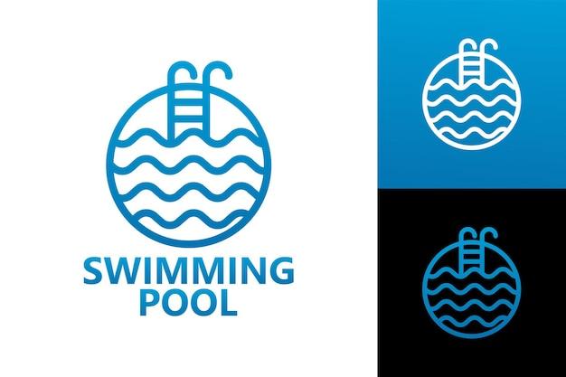Vetor premium do modelo do logotipo da piscina