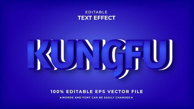 Vetor premium editável de efeito de texto azul kungfu