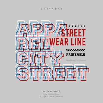 Vetor premium editável do efeito de texto de brilho de linha de cidade de vestuário street
