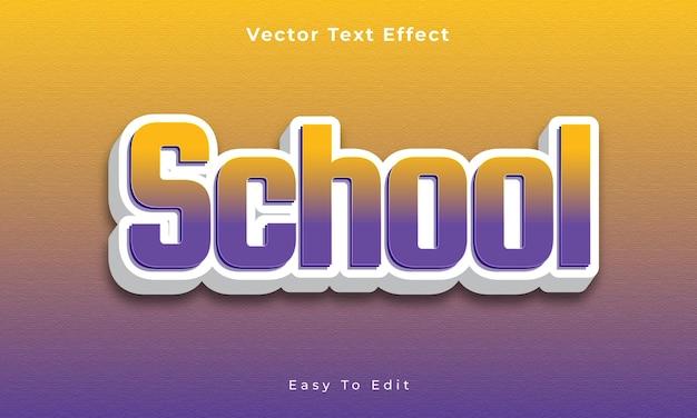 Vetor premium premium vecto com efeito de texto 3d editável escolar