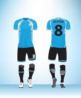 Vetor preto azul uniforme de futebol