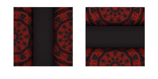 Vetor pronto para imprimir design de cartão postal cores pretas com padrões gregos. modelo de cartão de convite de vetor com lugar para o seu texto e ornamento.