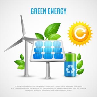 Vetor realista de energia verde