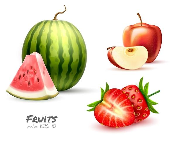 Vetor realista de morango, melancia, maçã, baga fresca e sementes de frutas
