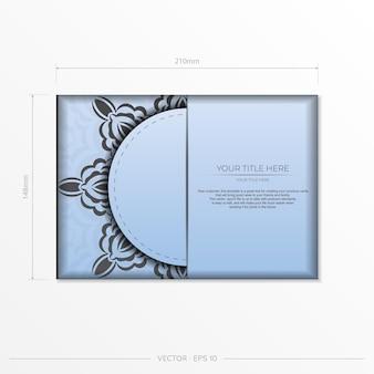 Vetor retangular preparando cartões postais na cor azul com luxuosos ornamentos pretos. modelo de cartão de convite para impressão de design com padrões vintage.
