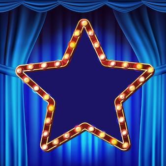 Vetor retro do quadro de avisos da estrela. cortina azul do teatro. placa de sinal de luz a brilhar. quadro de lâmpada de brilho realista. elemento de incandescência 3d elétrico. carnaval, circo, estilo cassino. ilustração