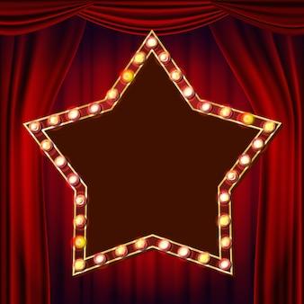 Vetor retro do quadro de avisos da estrela. cortina de teatro vermelho. placa de sinal de luz a brilhar. elemento de incandescência elétrico da estrela 3d. luz de néon iluminada dourada do vintage. carnaval, circo, estilo cassino. ilustração