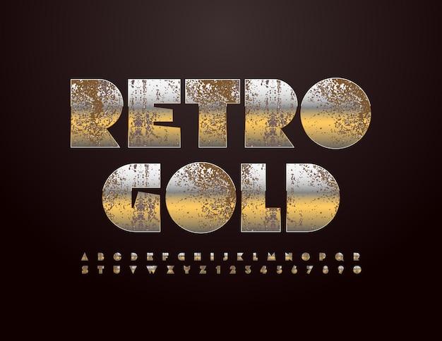 Vetor retro estilo fonte ouro enferrujado metálico alfabeto abstrato envelhecido conjunto de letras e números