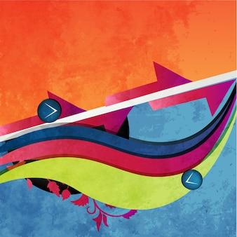 Vetor retro estilo onda colorida fundo