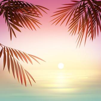 Vetor rosa desfocar o pôr do sol com silhuetas de sol, mar azul e folhas de palmeira