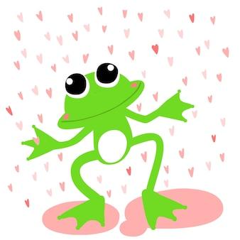 Vetor sapo verde amor dia da chuva