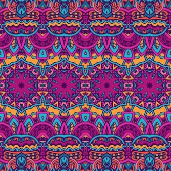 Vetor sem costura colorida festiva mandala brilhante arte padrão doodle psicodélico