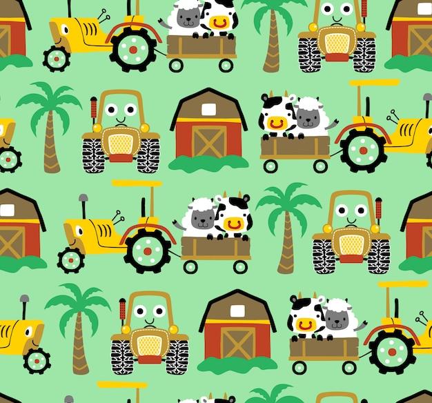 Vetor sem costura padrão de desenho animado de tema de campo agrícola