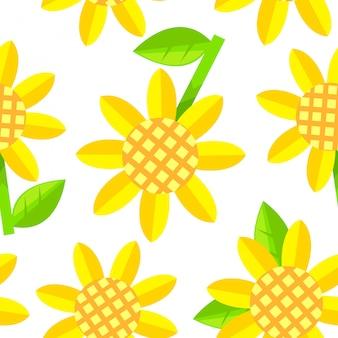 Vetor sem costura padrão de flor amarela