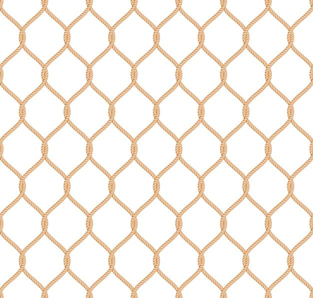 Vetor sem costura padrão de rede marinha de corda