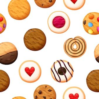 Vetor sem emenda de padrão de cookies
