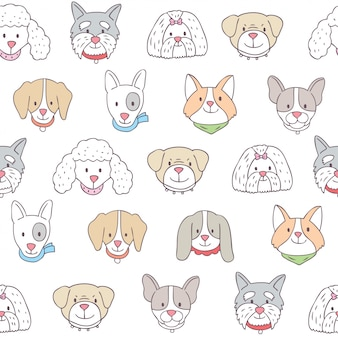 Vetor sem emenda do teste padrão dos cães bonitos dos desenhos animados.