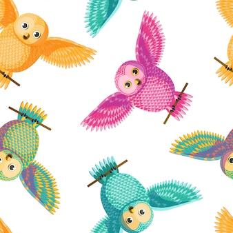 Vetor sem emenda multicolorido amarelo, cor-de-rosa, verde, coruja de turquesa que espalha o teste padrão das asas.