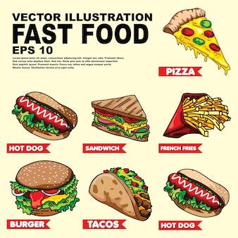 Vetor set ilustração do fast food