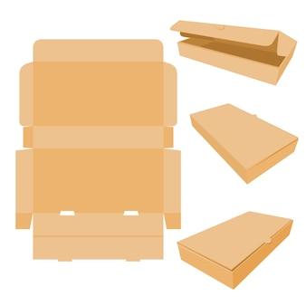 Vetor simples, definir vários modelos de perspectiva ou maquete, caixa de papelão para alimentos, sapatos, tecido ou outros bens, isolado no branco