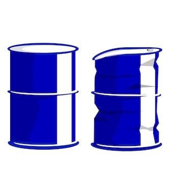 Vetor simples, duas condições diferentes, barril azul, isolado no branco