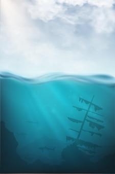 Vetor subaquático realista com tubarão, mergulhador e mar