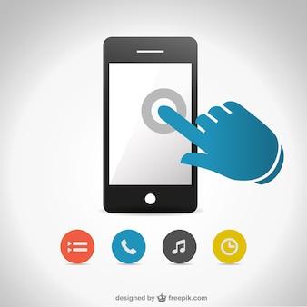 Vetor tela do smartphone toque livre