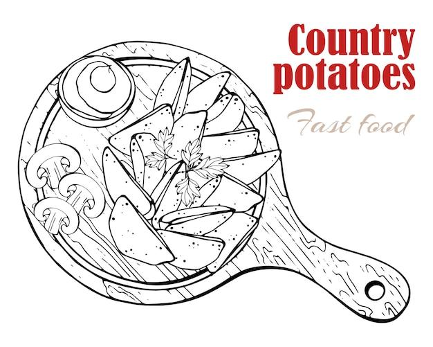 Vetor. tema do fast food: batatas do país em uma placa.