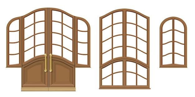 Vetor. um conjunto de portas e janelas clássicas de madeira. modelos de design. marcenaria vintage e móveis
