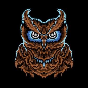 Vetor único coruja marrom de olhos azuis