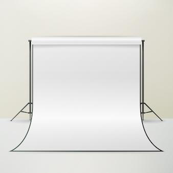 Vetor vazio do interior do estúdio da fotografia 3d. ilustração de apartamento realista fotógrafo.