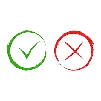 Vetor verde sim e vermelho sem símbolos de marca de seleção. sinais simples de marca e cruz