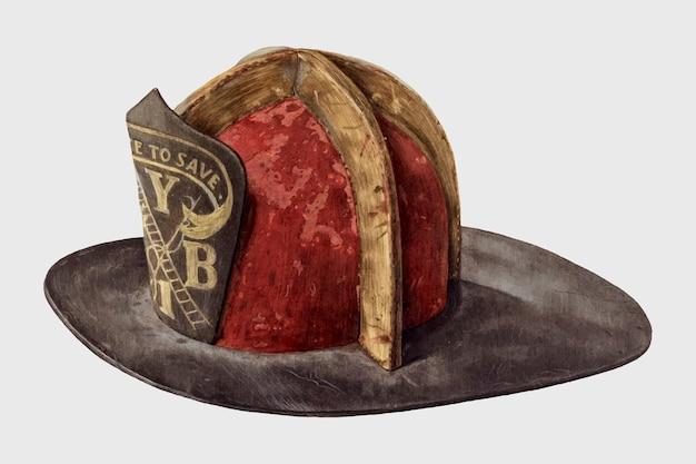 Vetor vintage de capacete de bombeiro, remix da arte de eugene bartz