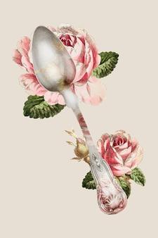 Vetor vintage de colher de prata com ilustração de flores, remixado de uma coleção de domínio público