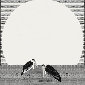 Vetor vintage de impressão de arte animal com moldura de cegonha-marabu, remix de obras de arte de samuel jessurun de mesquita