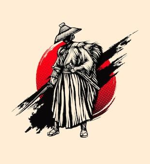 Vetor vintage de tinta estilo samurai