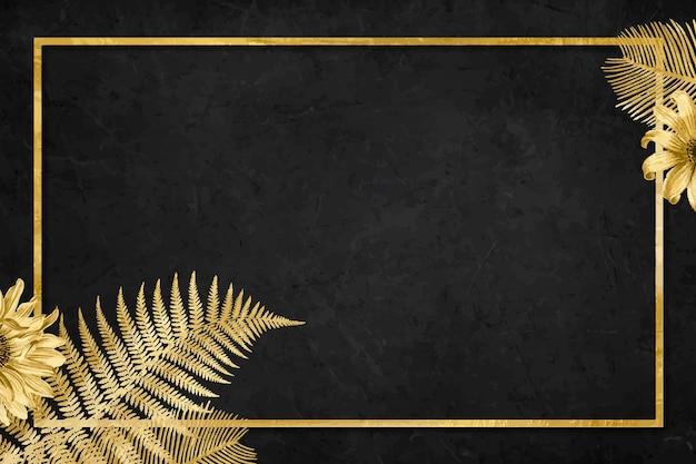 Vetor vintage flores moldura dourada fundo preto